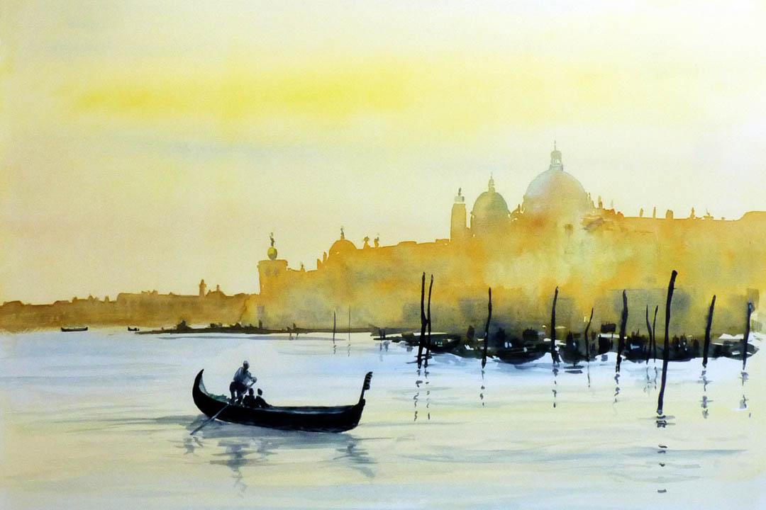 Venice gondola at sunrise