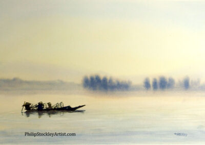 Fishermen in the early morning, Lake Inle, Myanmar