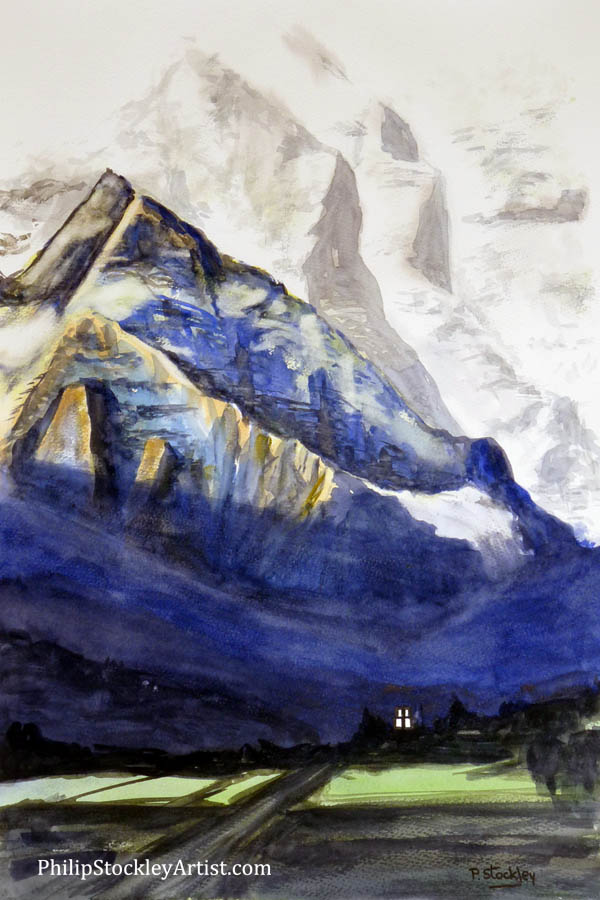 The Himalayan mountains and the temple