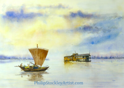 The Rocket paddle steamer and the cargo sailing boat, Bangladesh