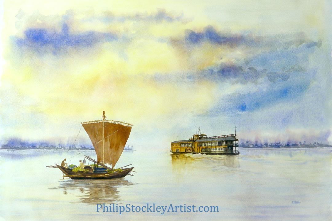 The Rocket paddle steamer and the cargo sailing boat, Bangladesh