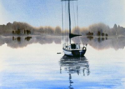 Blue sailing boat morning